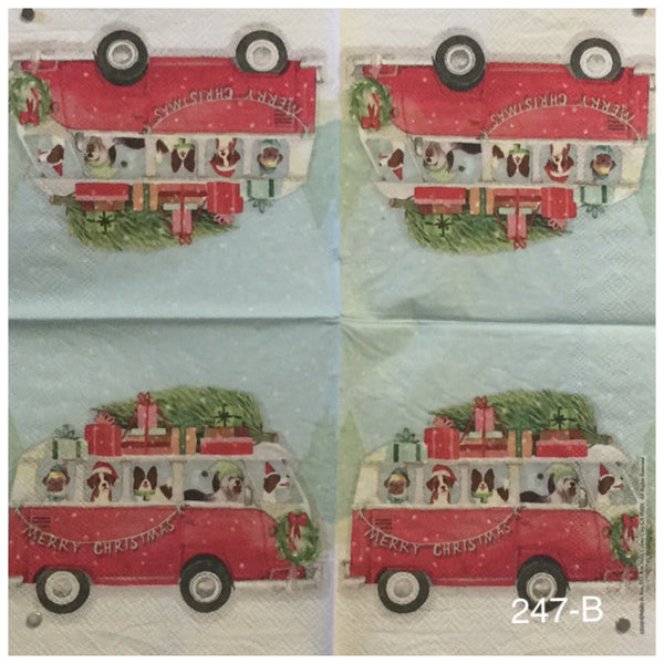 C-247 Red VW Bus with Dogs Napkin for Decoupage