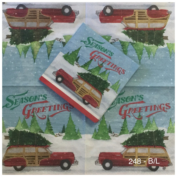 C-248 Christmas Woody Car Napkin for Decoupage