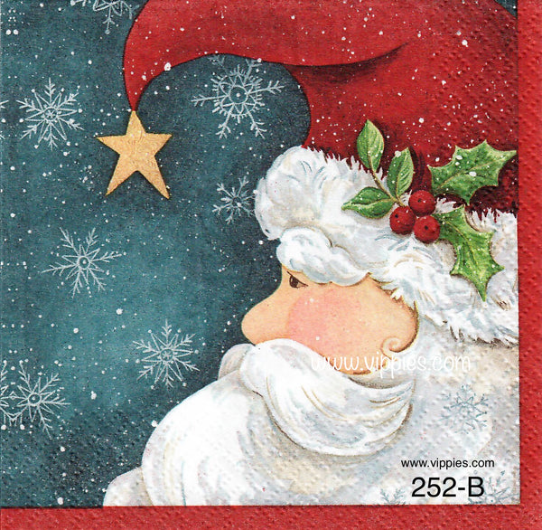 C-252 Santa Profile Star Hat Napkin for Decoupage