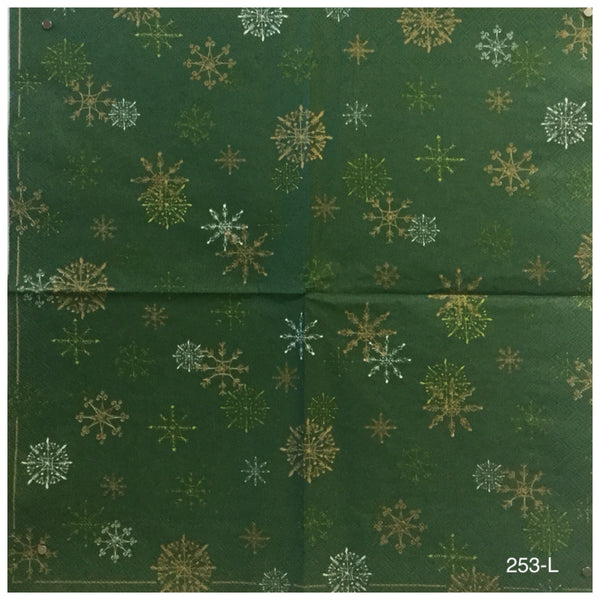 C-253 Green Snowflake Napkin for Decoupage