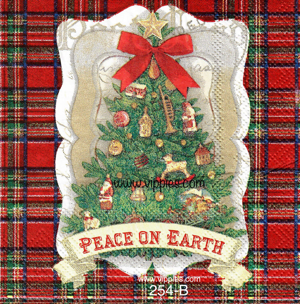 C-254 Peace on Earth Tree Napkin for Decoupage