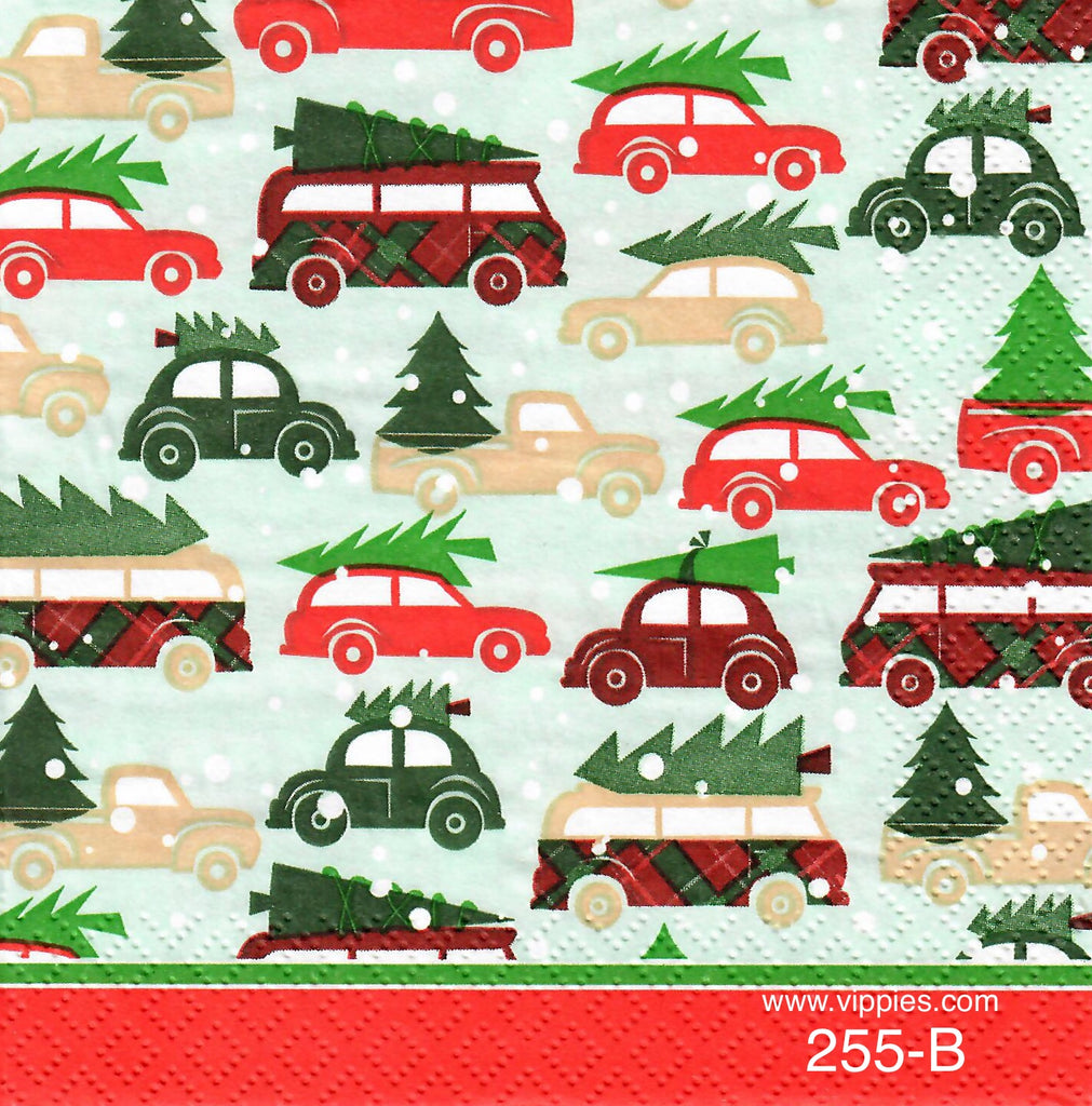 C-255 Cars and Christmas Trees Napkin for Decoupage