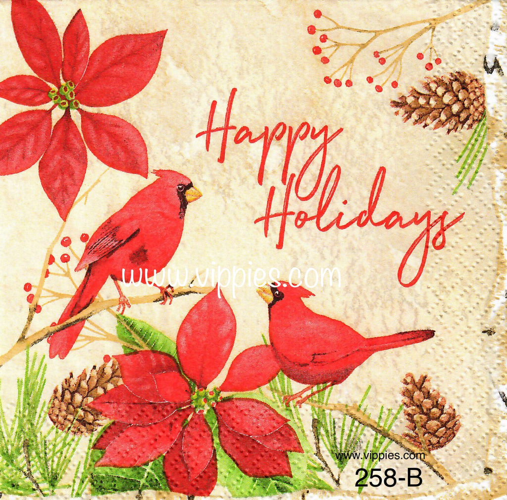 C-258 Happy Holidays Cardinals Napkin for Decoupage
