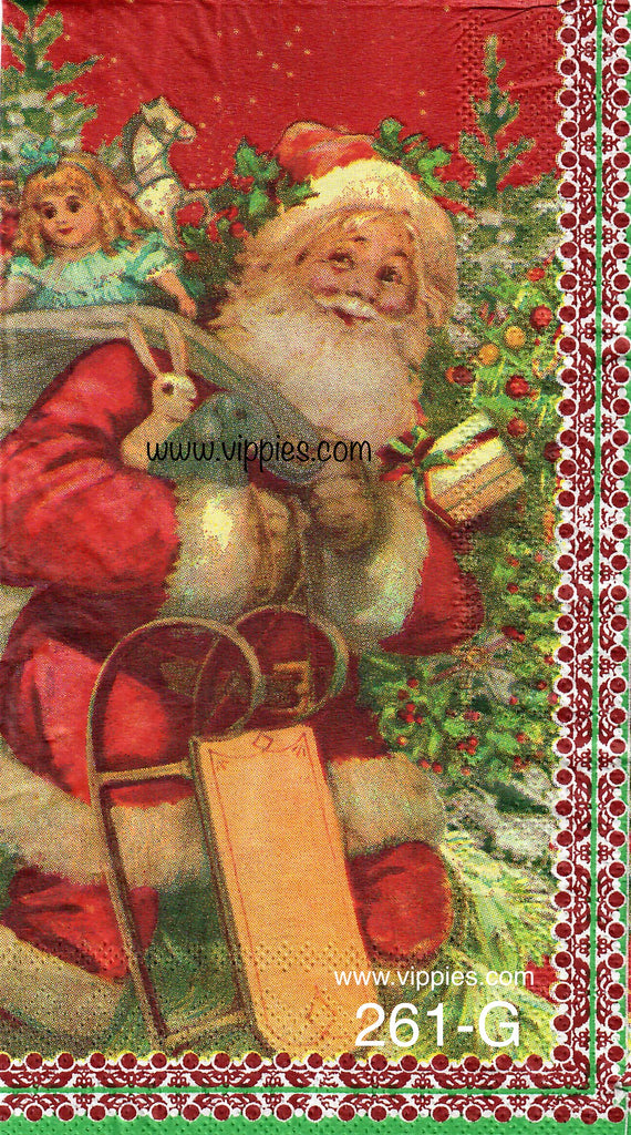 C-261 Santa Pack Sled Guest Napkin for Decoupage