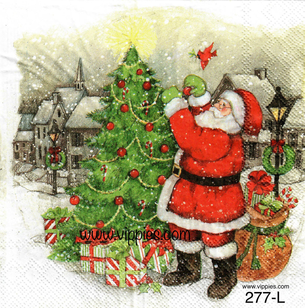 C-277 Santa Decorating Tree Napkin for Decoupage