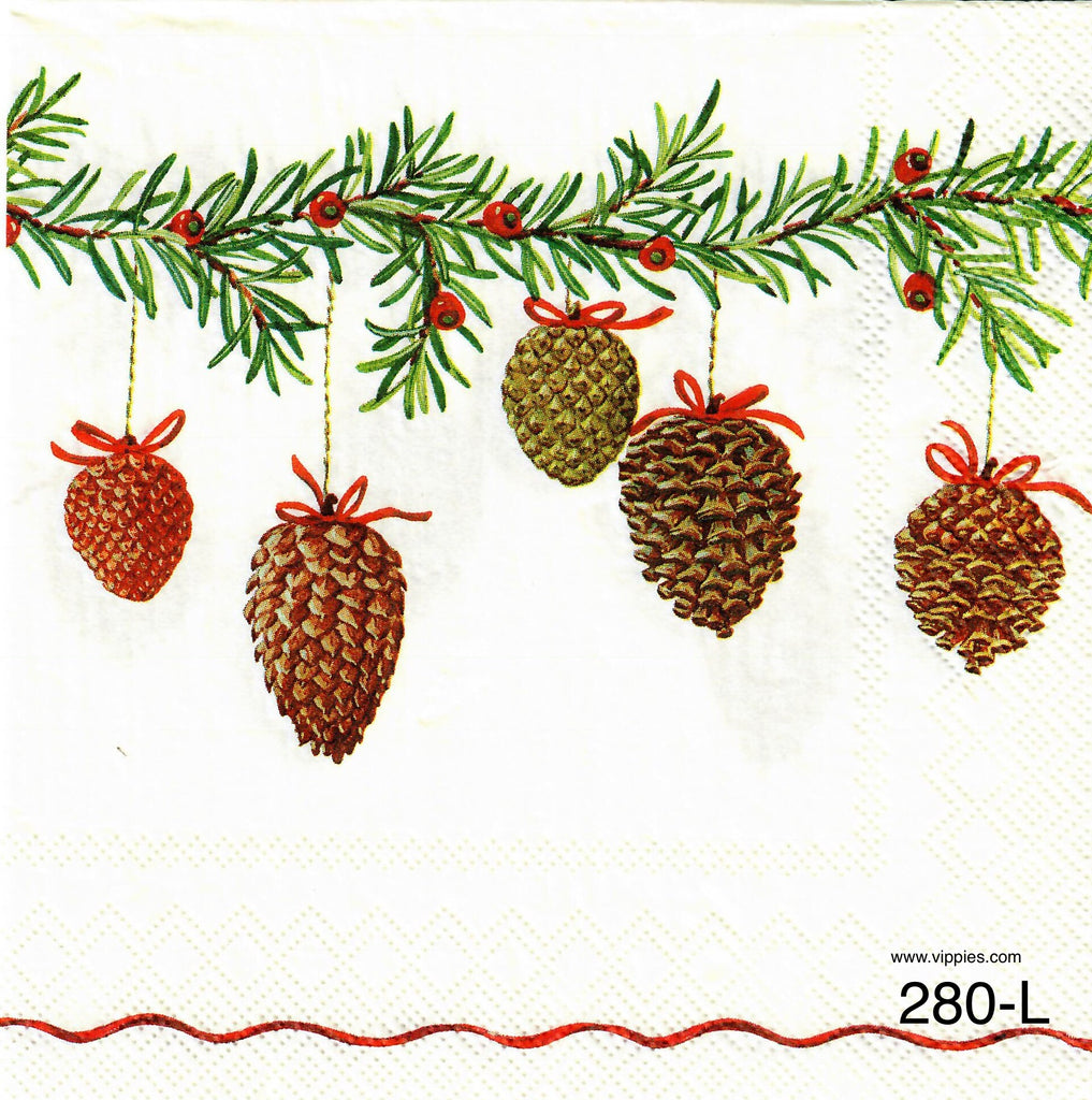 C-280 Cones On Fir Branch Napkin for Decoupage