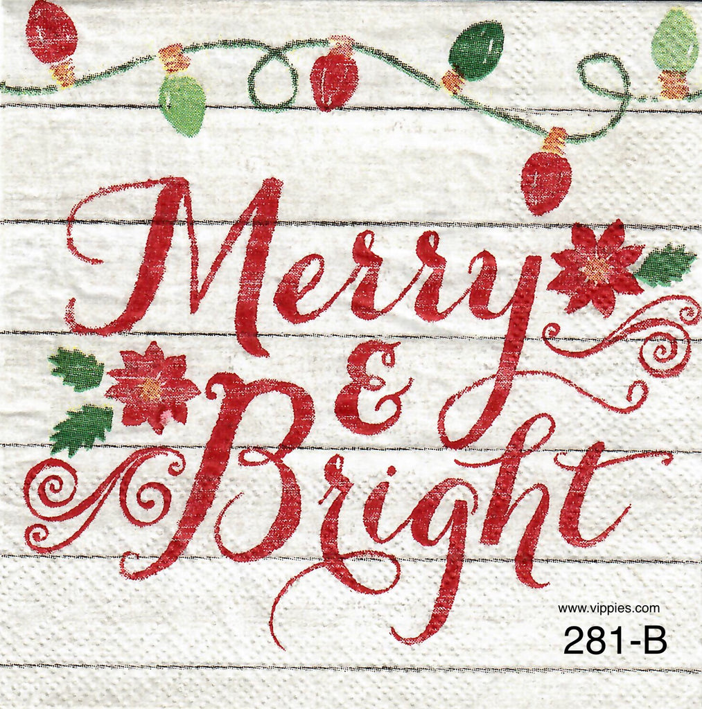 C-281 Merry and Bright Napkin for Decoupage