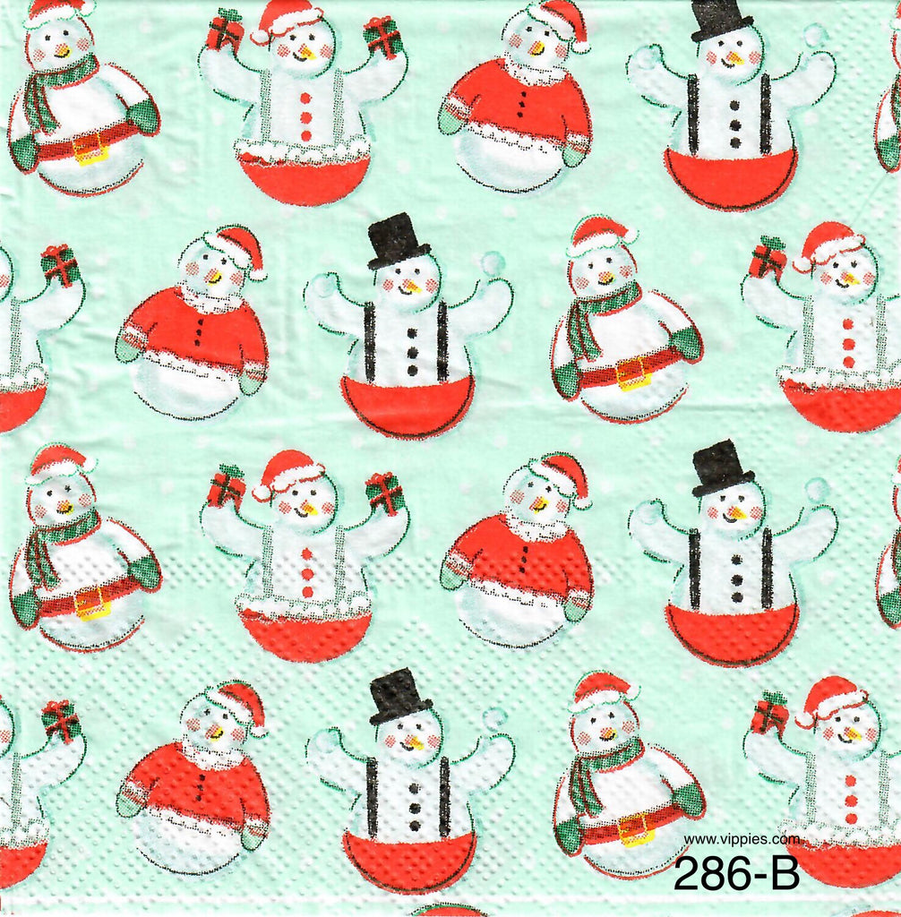 C-286 Roly Poly Snowmen Napkin for Decoupage