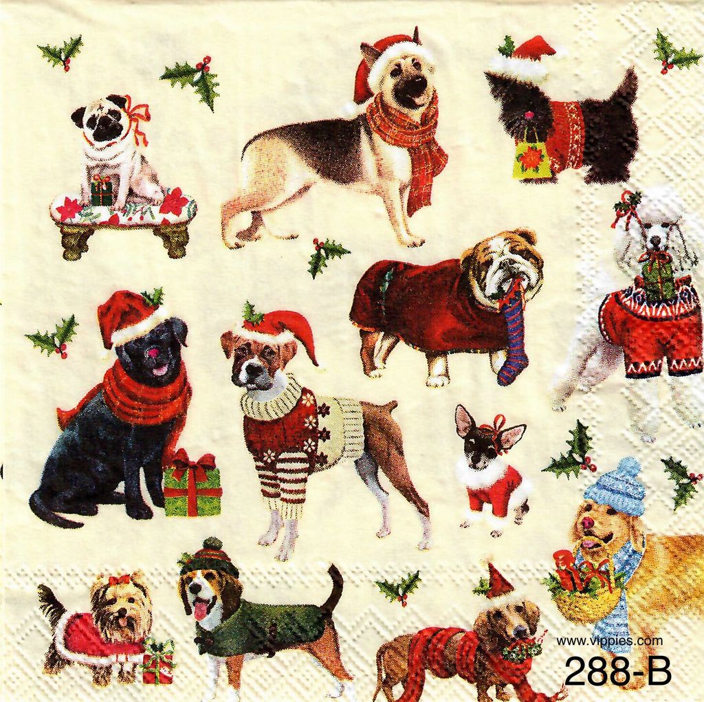 C-288 Dogs with Scarves Napkin for Decoupage