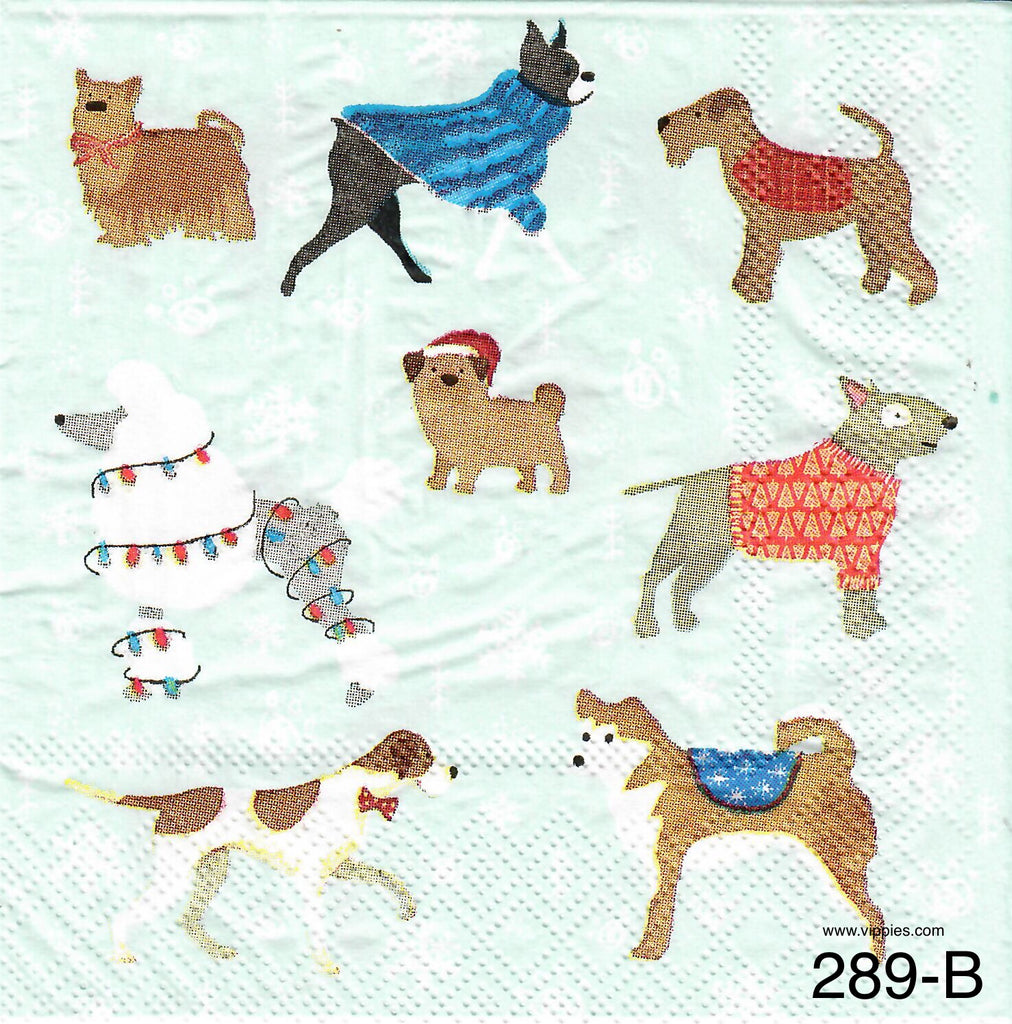 C-289 Dogs with Lights Napkin for Decoupage