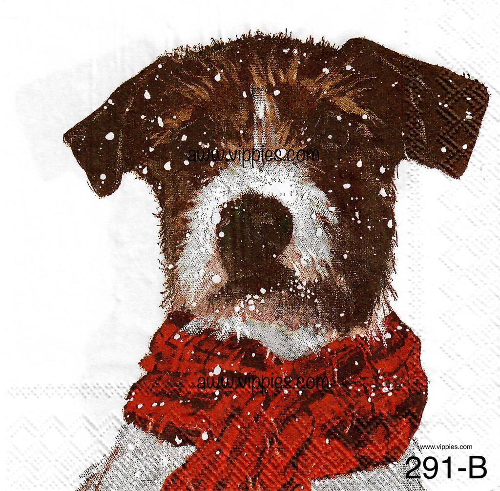 C-291 Brown Dog Red Scarf Napkin for Decoupage