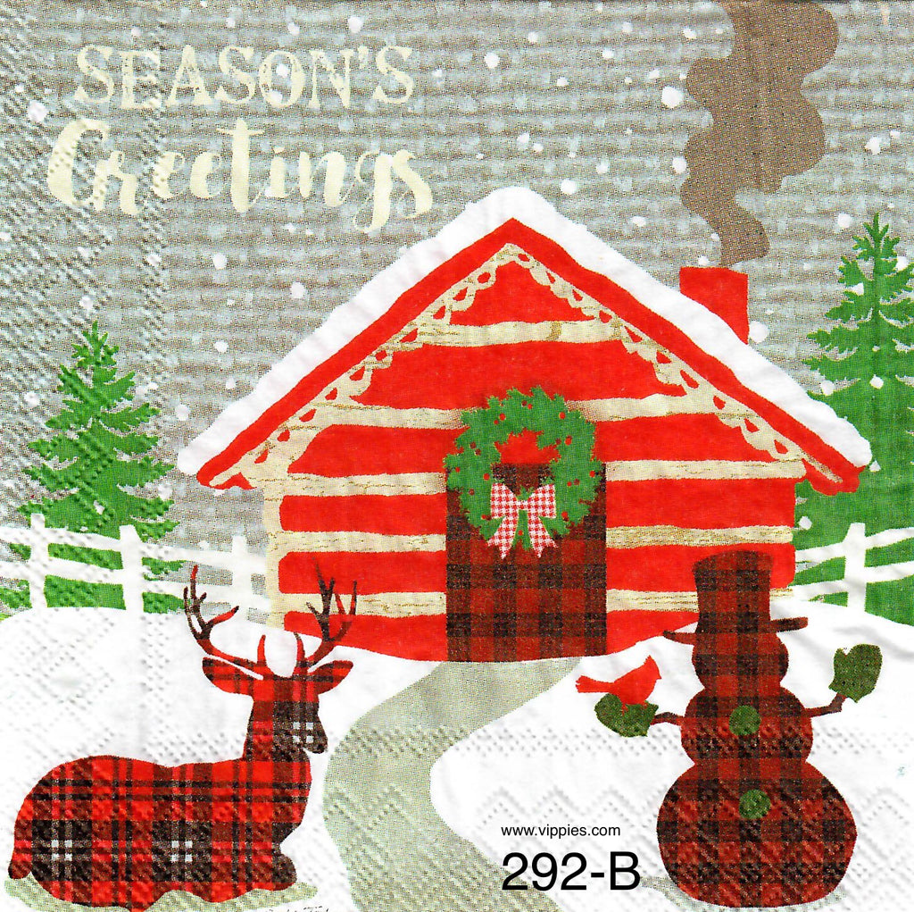 C-292 Greetings Log Cabin Napkin for Decoupage