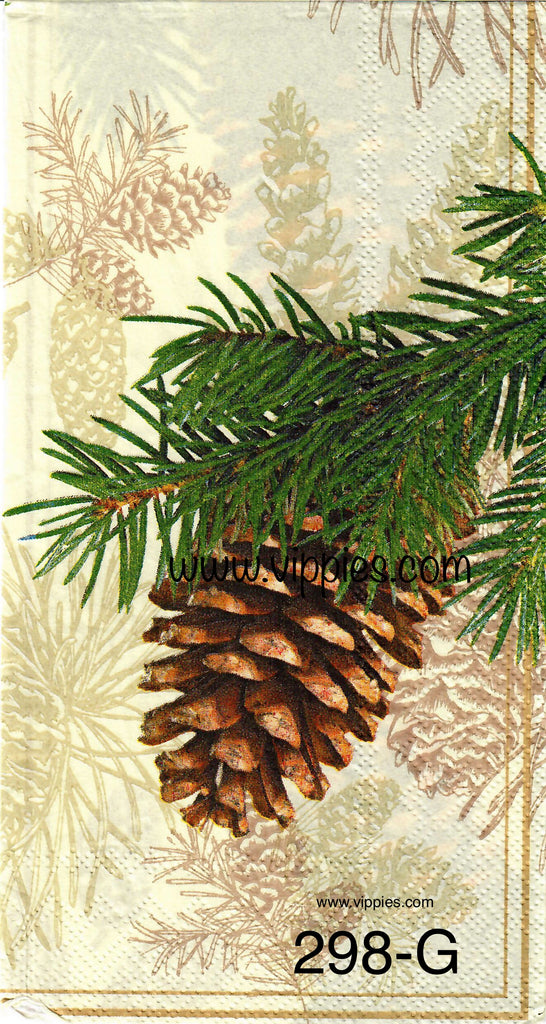 C-298 Pine Cone and Branch Guest Napkin for Decoupage