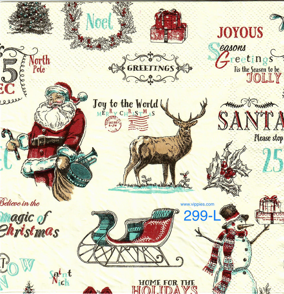 C-299 Words Santa Sled Napkin for Decoupage