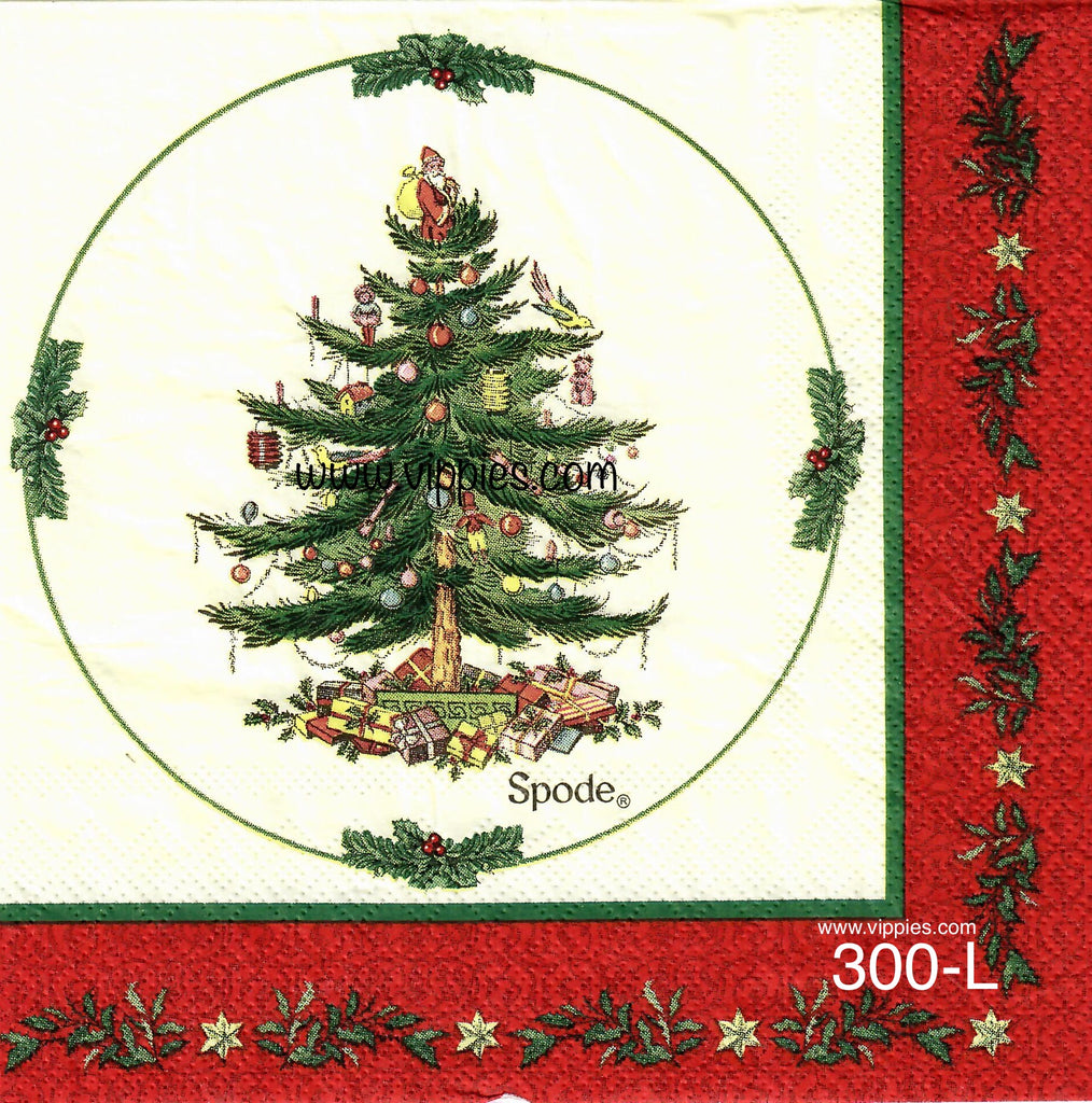 C-300 Tree Red Border Napkin for Decoupage
