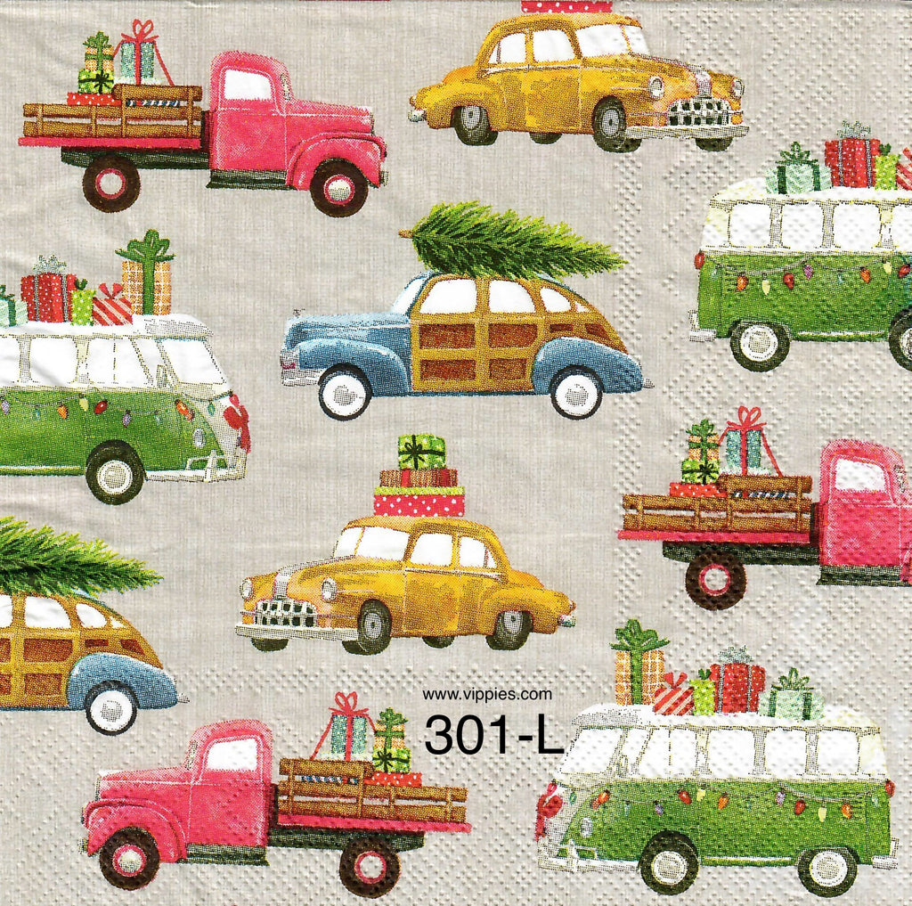 C-301 Cars and Trucks with Packages Napkin for Decoupage