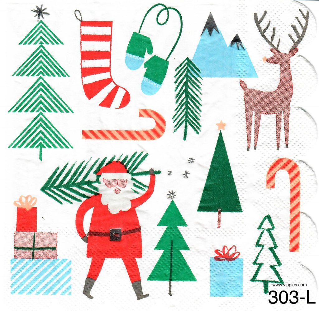 C-303 Santa Tree Scalloped Napkin for Decoupage
