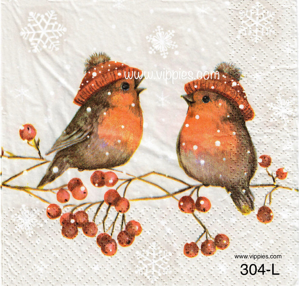 C-304 Robins Wearing Hats Napkin for Decoupage