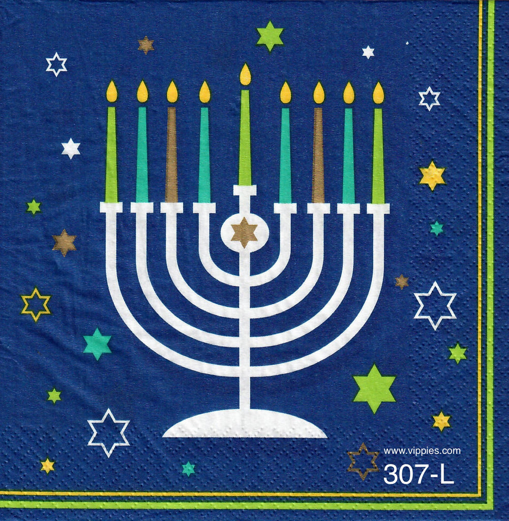 C-307 Menorah Napkin for Decoupage
