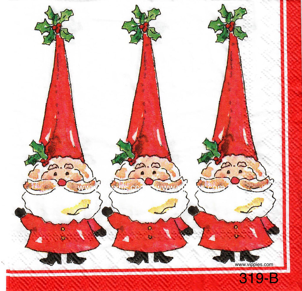 C-319 3 Santa Tall Hat Napkin for Decoupage