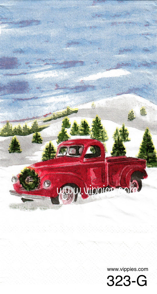 C-323 Red Truck Snow Guest Napkin for Decoupage