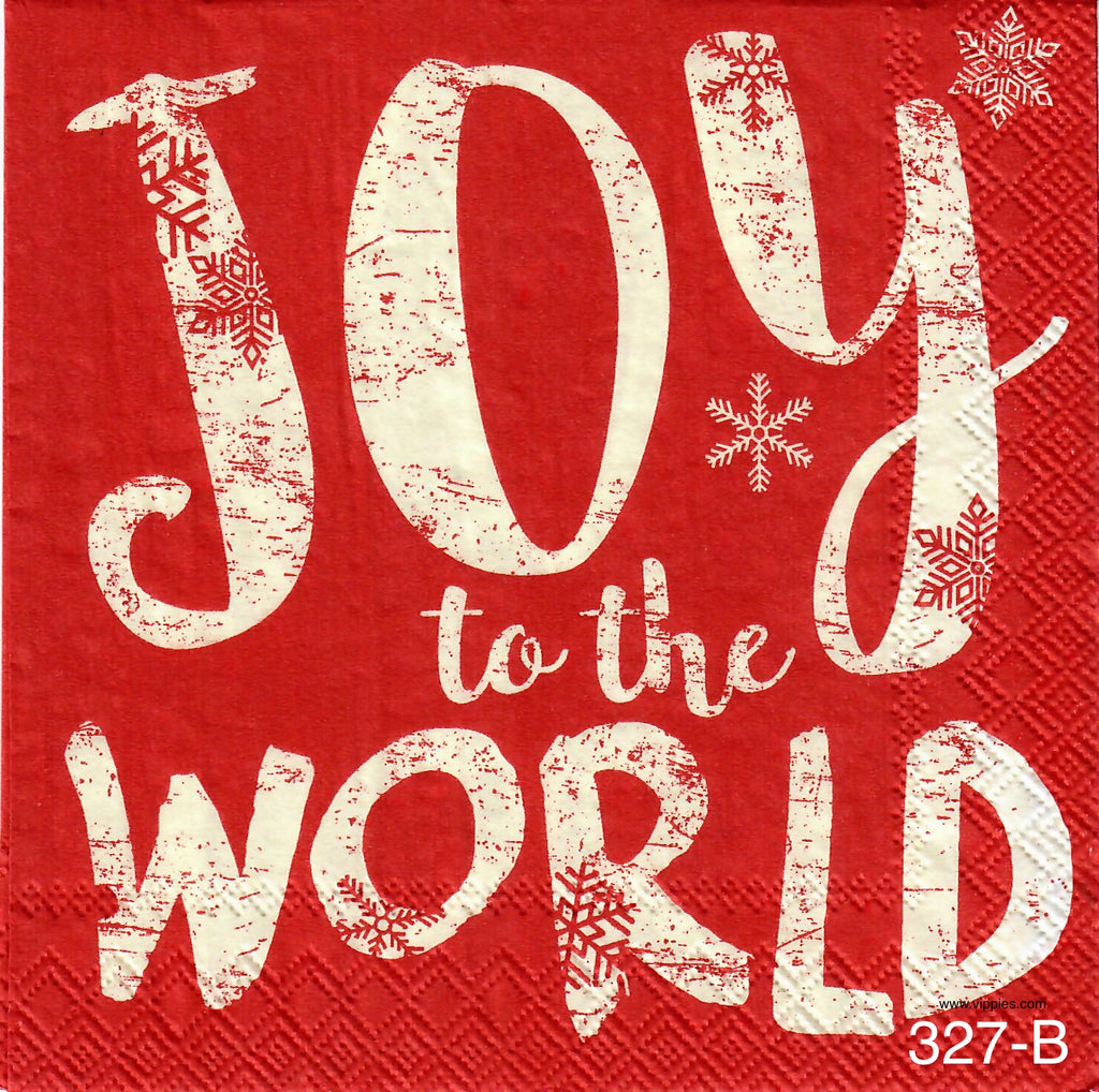 C-327 Joy to the World Red Napkin for Decoupage