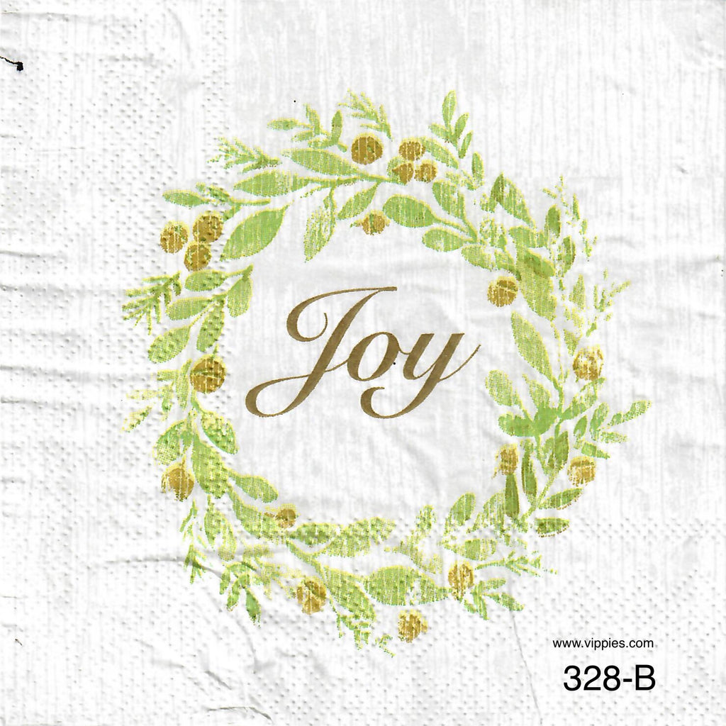 C-328 Joy in Wreath Napkin for Decoupage