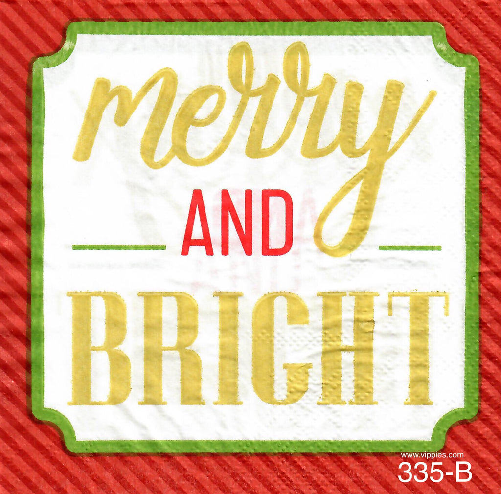 C-335 Merry and Bright Words Napkin for Decoupage