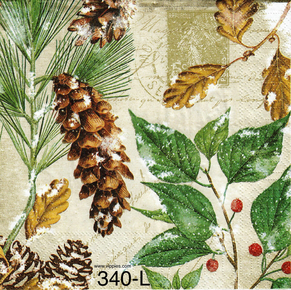 C-340 Winter Foliage Napkin for Decoupage