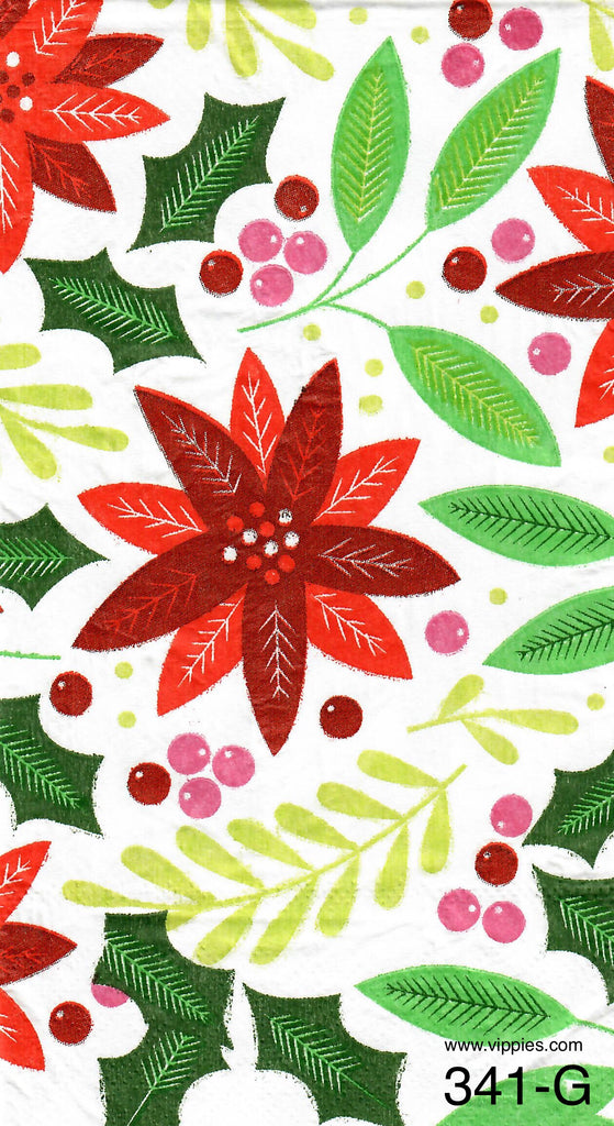 C-341 50's Poinsettia Guest Napkin for Decoupage