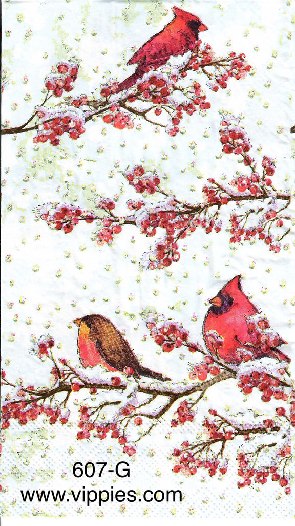 C-607 Cardinals Berries Guest Napkin for Decoupage