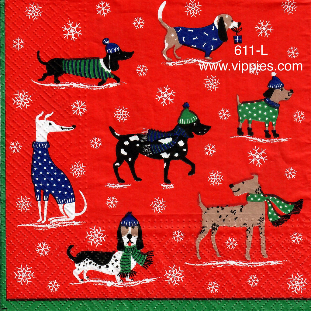 C-611 Red Christmas Sweater Dogs Napkin for Decoupage