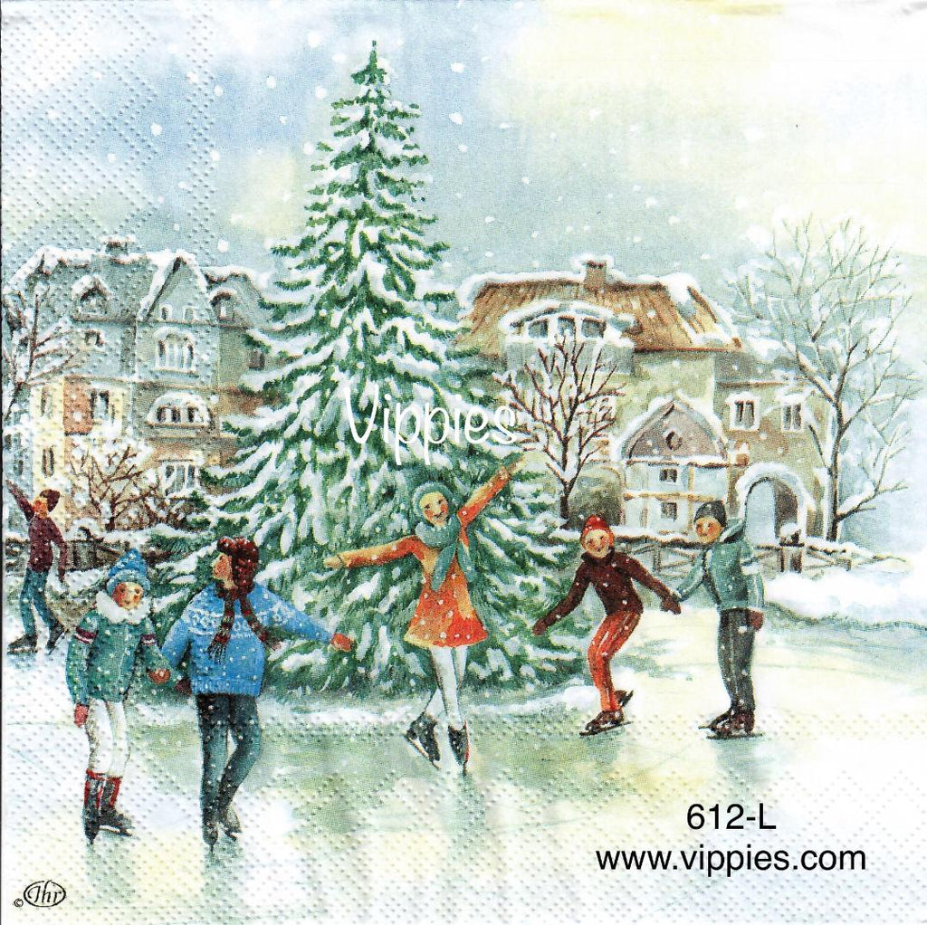 C-612 Skaters Big Tree Napkin for Decoupage