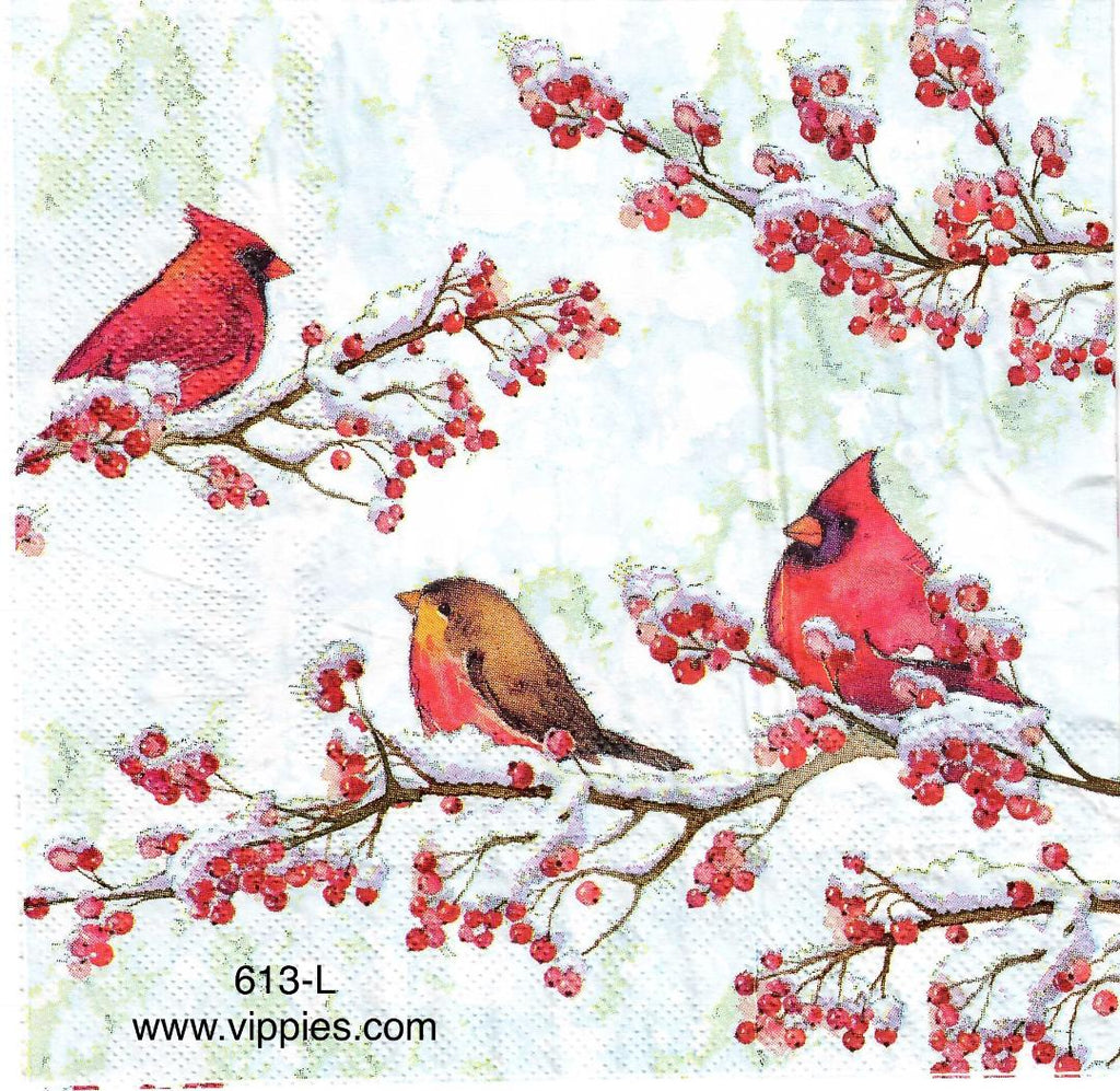 C-613 Cardinals on Branches Napkin for Decoupage