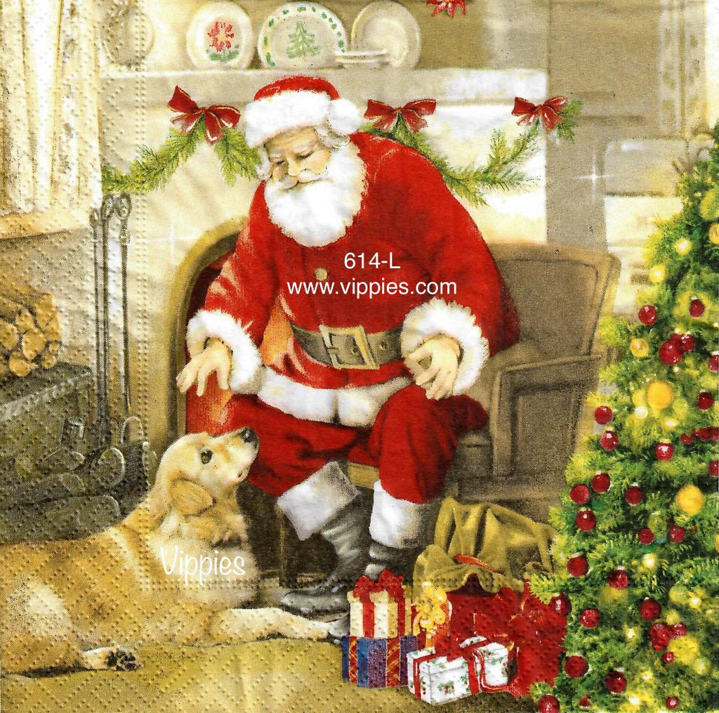 C-614 Santa Golden Lab Napkin for Decoupage