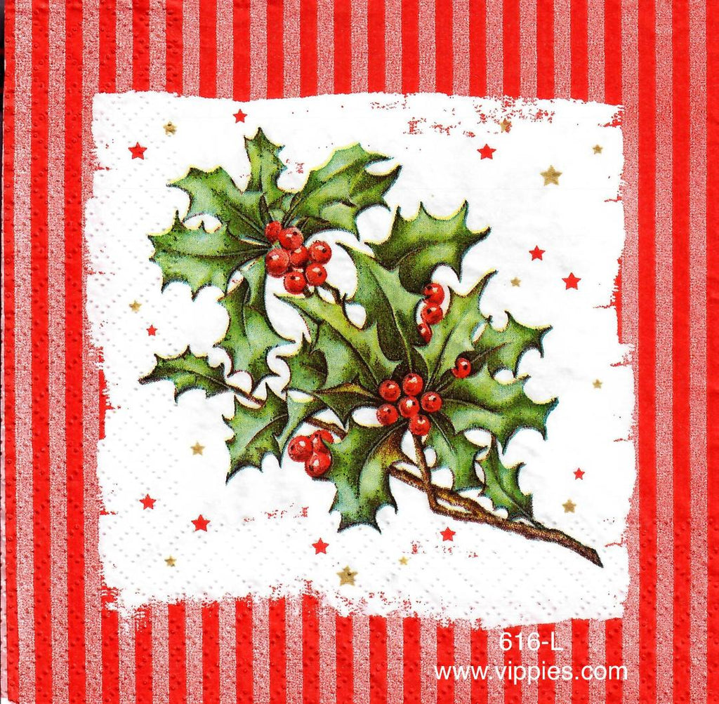 C-616 Holly Stripes Napkin for Decoupage