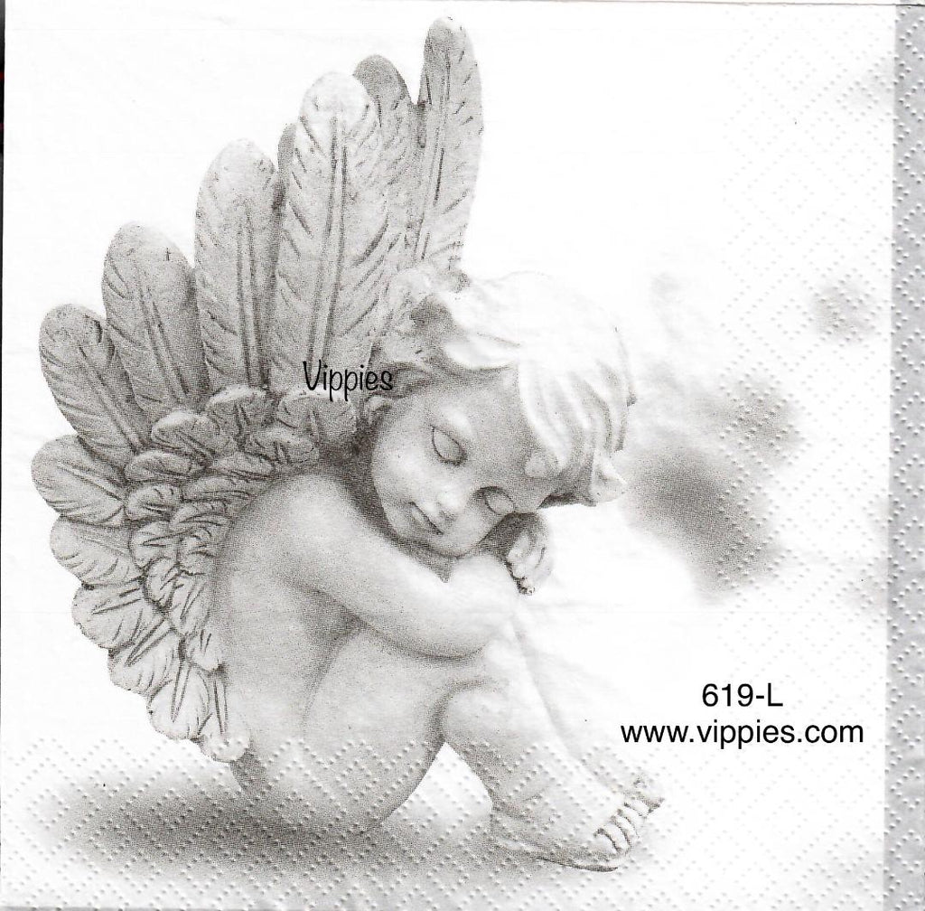 C-619 Angel Eyes Closed Napkin for Decoupage