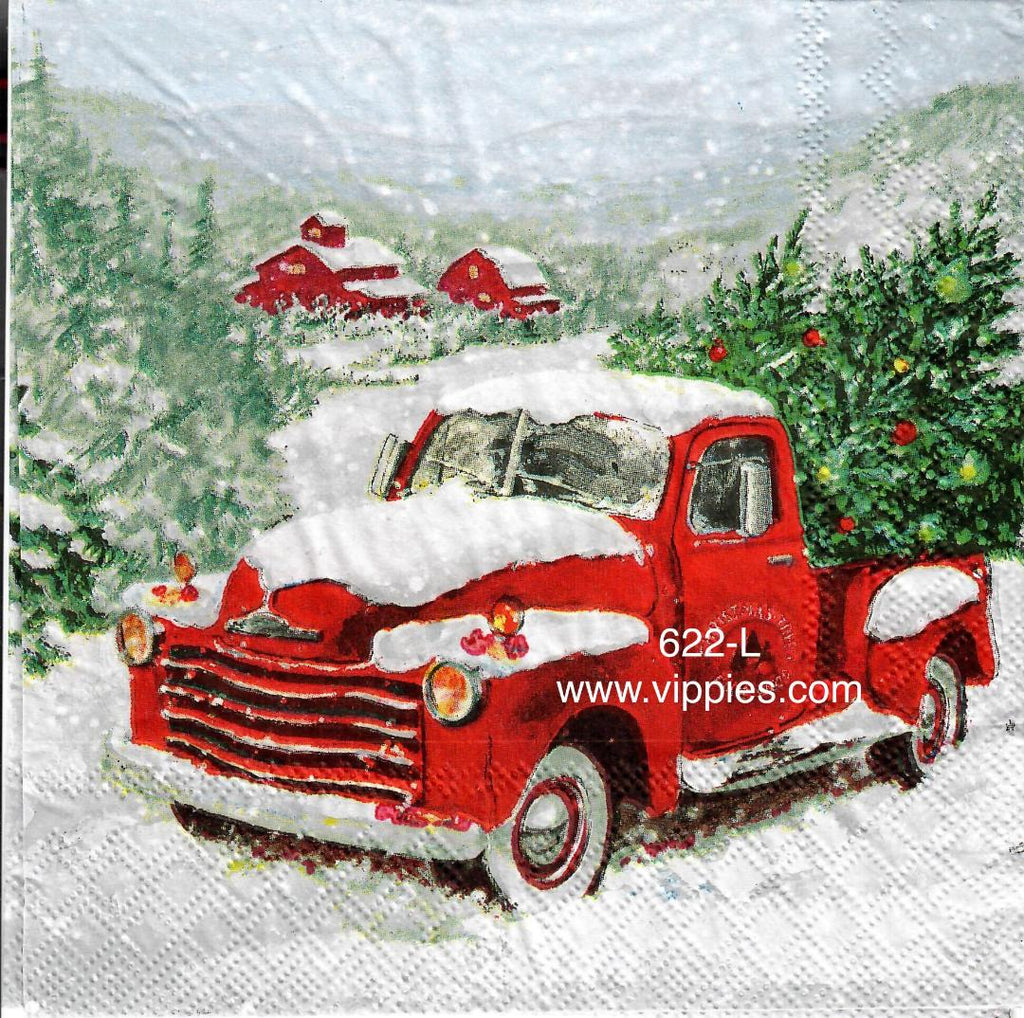C-622 Red Pickup Barns Napkin for Decoupage