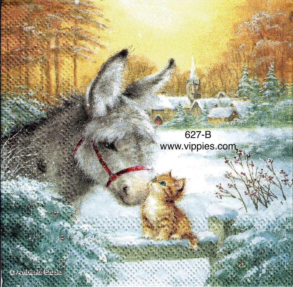 C-627 Donkey Kitten Napkin for Decoupage