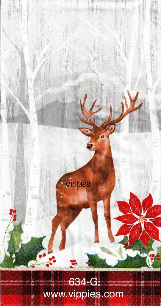 C-634 Deer Woods Poinsettia Guest Napkin for Decoupage