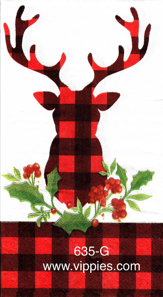 C-635 Buck Red Plaid Guest Napkin for Decoupage