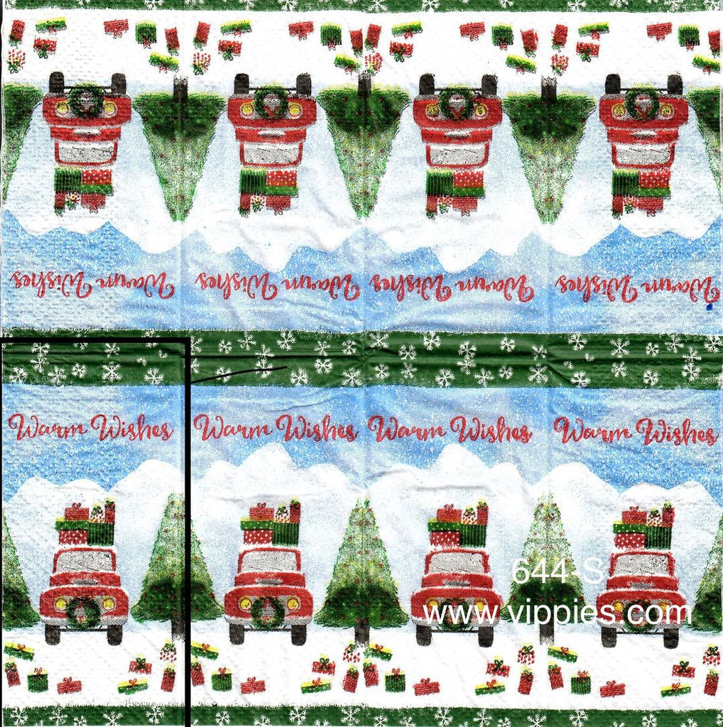 C-644 Warm Wishes Red Truck Sniffer Napkin for Decoupage