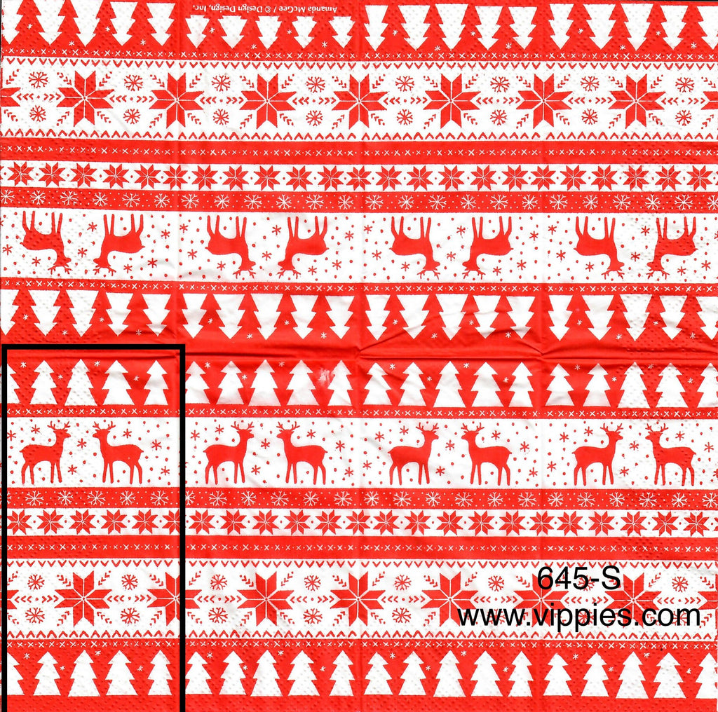 C-645 Red Deer Strips Sniffer Napkin for Decoupage