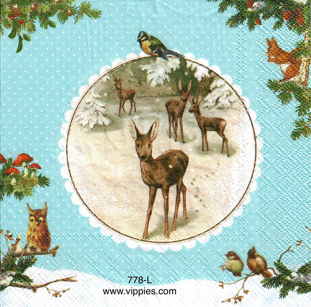 C-778 Deer Circle Frame Napkin for Decoupage