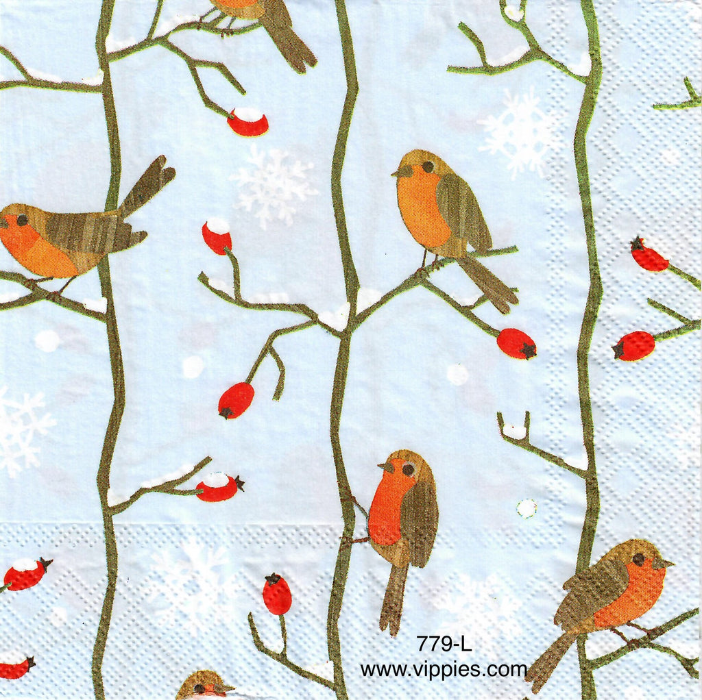 C-779 Robins in Trees Napkin for Decoupage