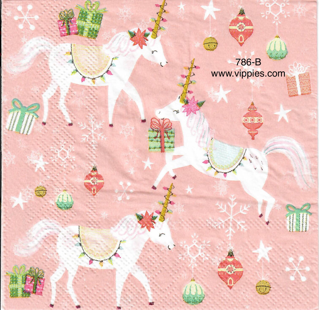 C-786 Pink Christmas Unicorns Napkin for Decoupage