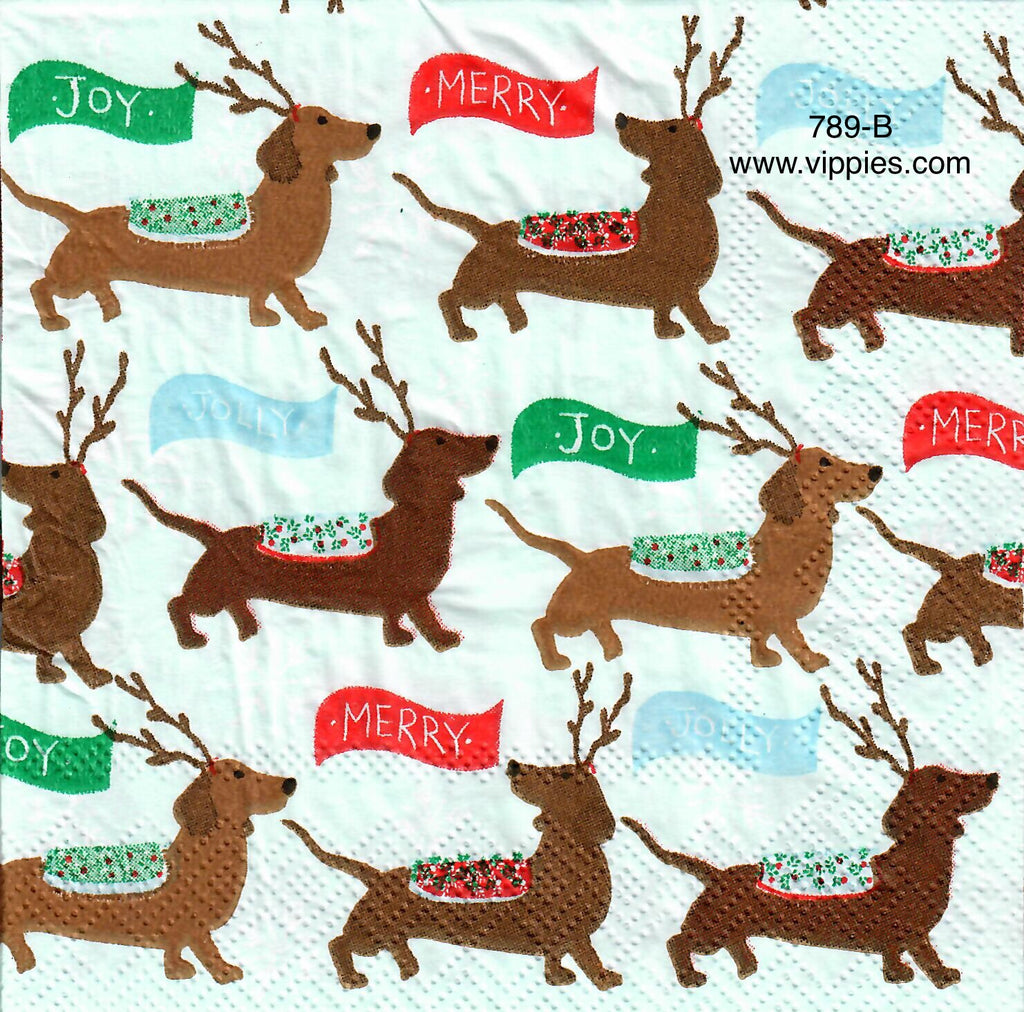 C-789 Reindeer Weiner Dogs Napkin for Decoupage