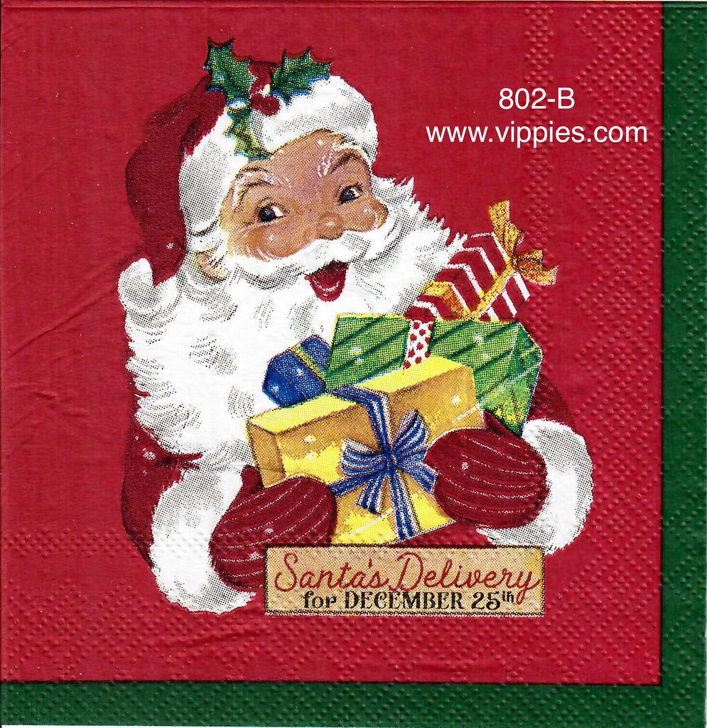 C-802 Mid Century Santa Gifts Napkin for Decoupage