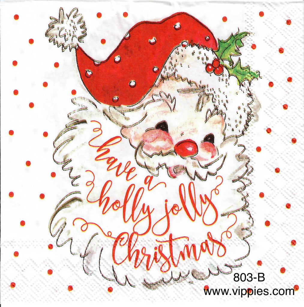 C-803 Holly Jolly Santa Beard Napkin for Decoupage
