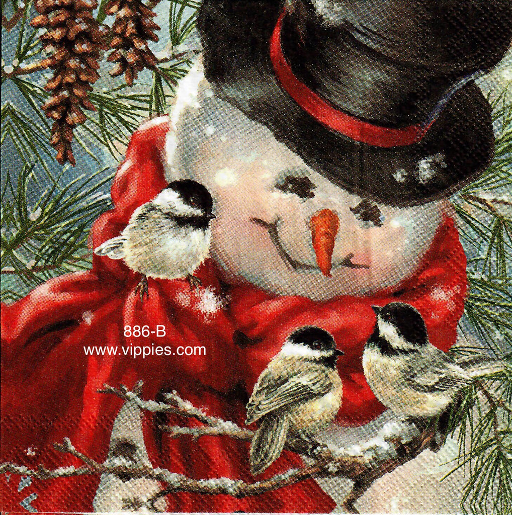 C-886 Snowman 3 Birds Napkin for Decoupage